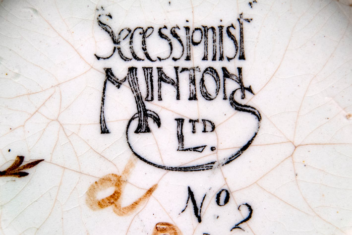 Detail of the printed mark found on the base on an early Mintons Secessionist example from the Alessandra Wilson collection.