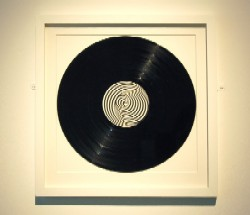 A framed vinyl record